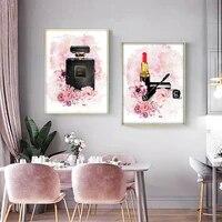 Strass mosaique rose fleur parfum mode dame diamant peinture maquillage art peinture mur moderne fille chambre decor a la maison