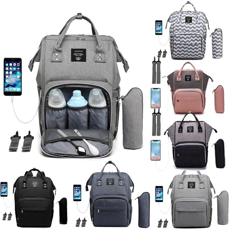 Bolsa de pañales con diseño USB, mochila momia para el cuidado del bebé de gran capacidad, bolsa momia para maternidad, bolsa mojada impermeable para bebé, bolsa para embarazada, regalos