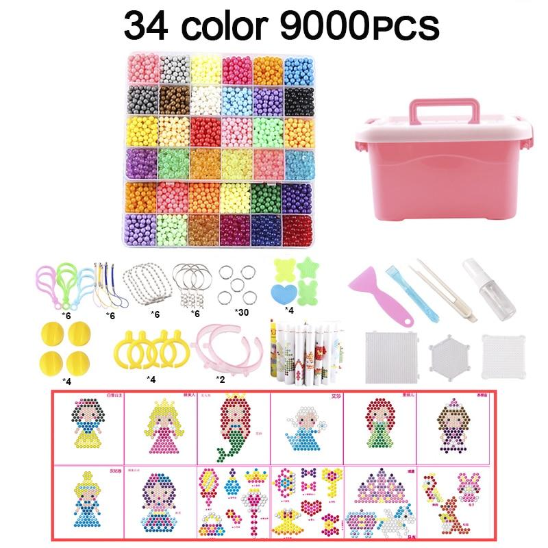 9000pcs DIY Fuse Beads Magic Water Creative beads set Pen Tweezer Pegboard Kit Accessories Girls Gift kids toys for Children
