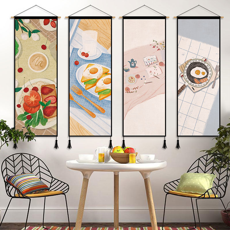 Ins Fresh Wall Art Painting Warm Bedroom Dining Room Decorative Canvas Poster Cute Cat Hanging Scroll Paintings Wall Tapestry