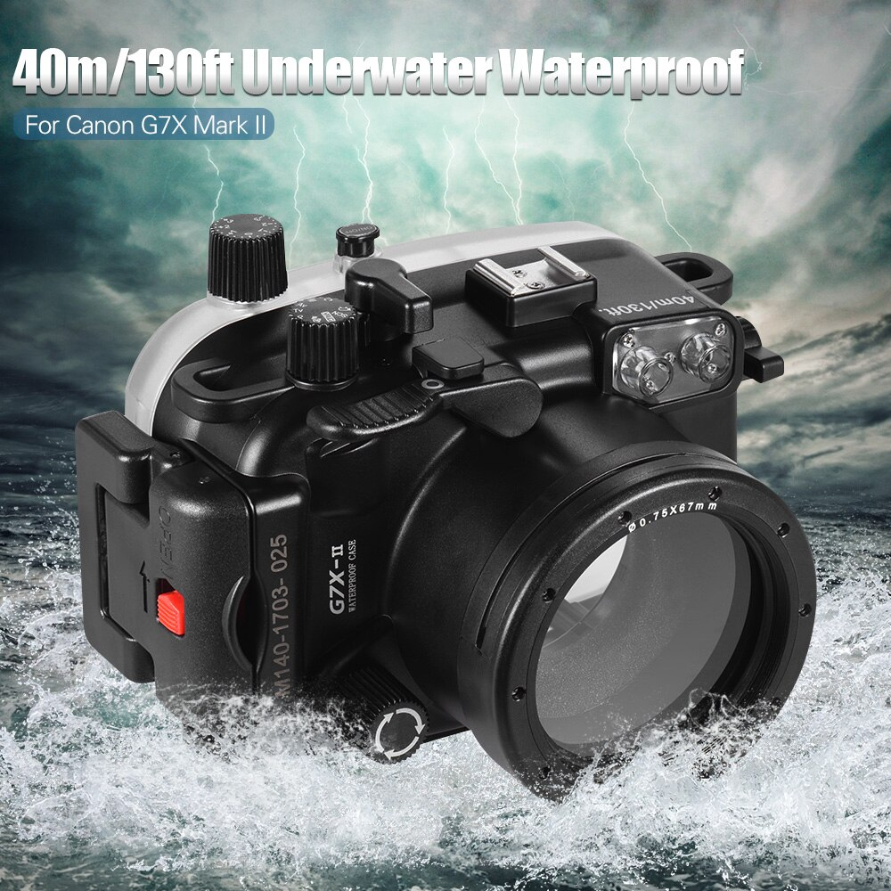 Carcasa protectora impermeable para cámara de buceo cubierta bajo el agua 40 m/130ft para Canon G7X Mark II de alta calidad