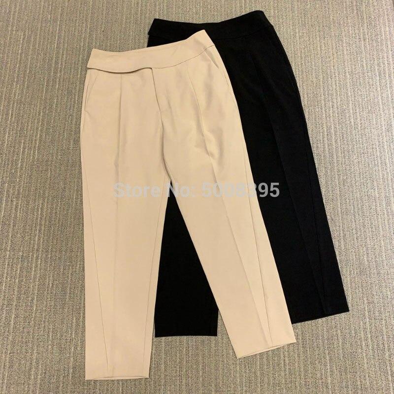 [ElfStyle] -pantalones capri de Lombardía a medida cintura ancha piernas rectas con pliegues prensados moda Twised Seam Pants 2020