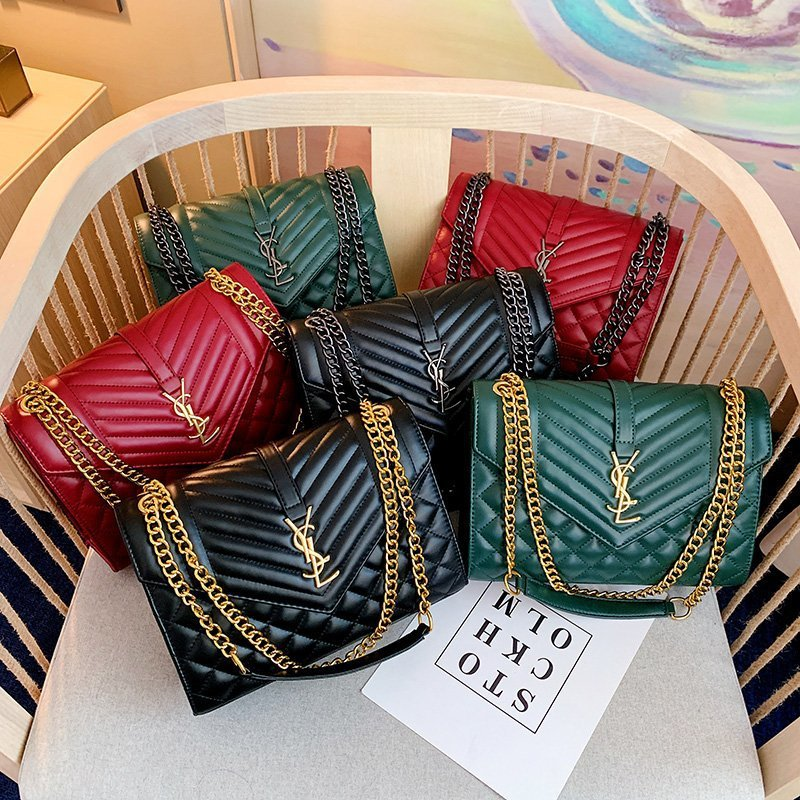 Bolso de señora nueva, bolso de cadena de textura suave de hilo bordado rombo, bolso de sobre de un solo hombro a la moda