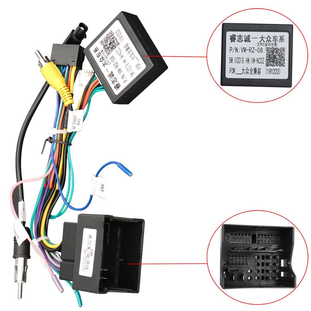 Canbus caixa/adaptador cabos para volkswagen/v.w/golf 7/skoda/seat carro gps rádio multmedia player