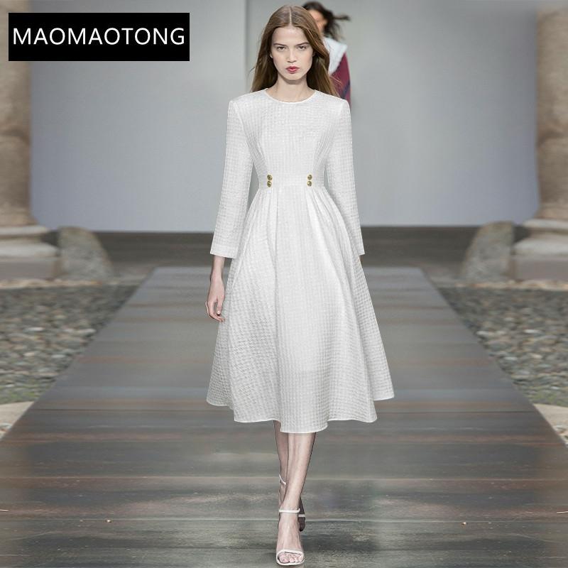 فستان نسائي أنيق أبيض للخريف مصمم على الموضة برقبة دائرية وأكمام طويلة عالي الخصر فستان غير رسمي للحفلات ميدي