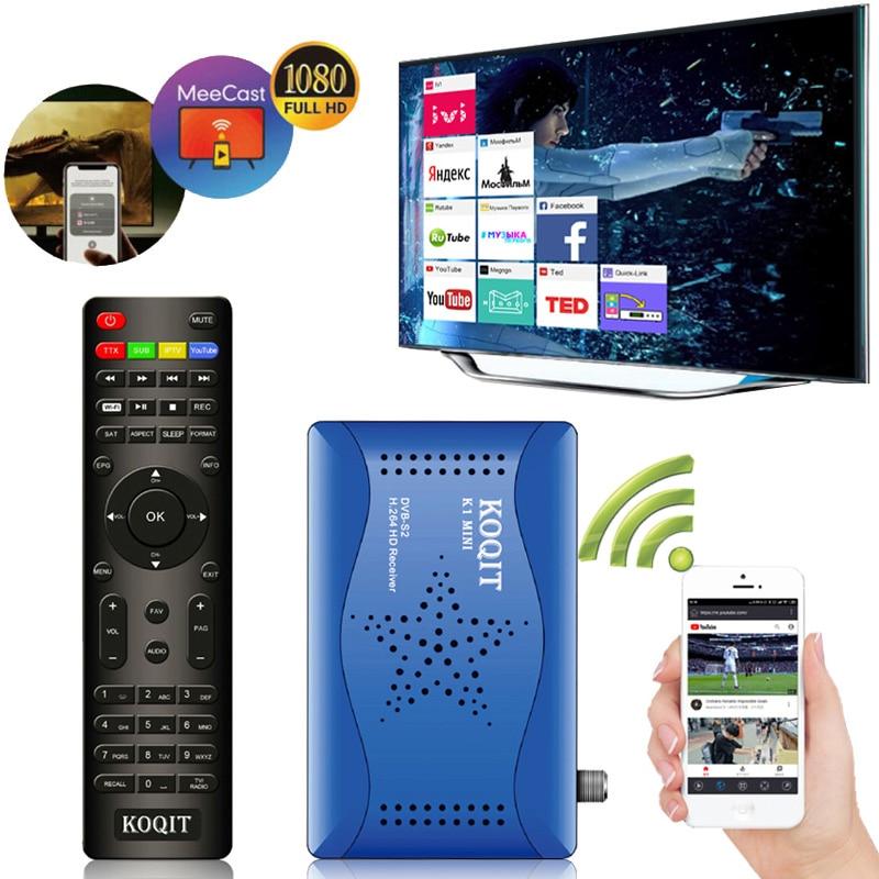 Koqit-Receptor satélite k1 Mini, decodificador DVB S2, Receptor de satélite, Mirror Cast DVB-S2, sintonizador de TV T2MI, Wifi, Youtube