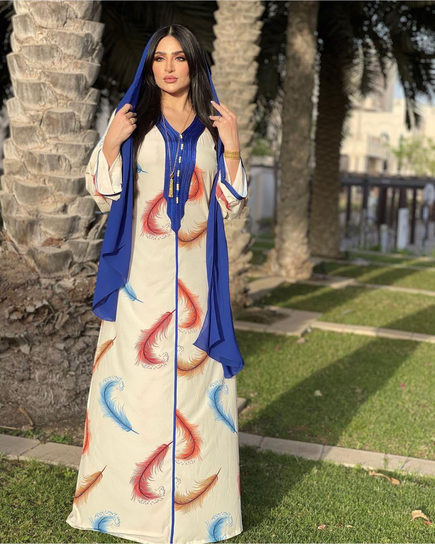 Vestido de manga larga para mujer, Hijab musulmán turco árabe marroquí, Floral,...