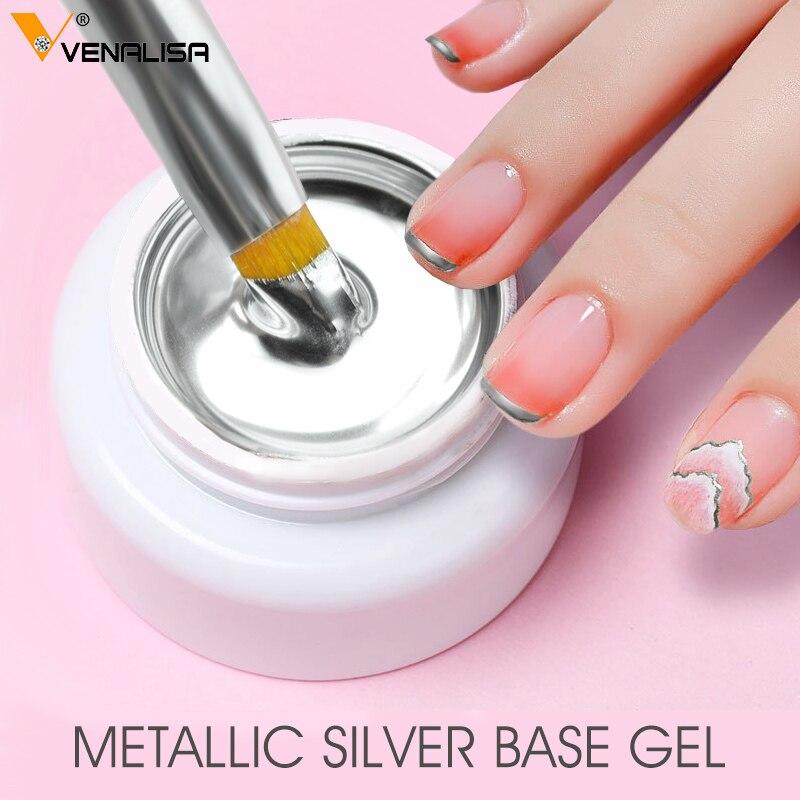 sliver gel base metal effect line gel soak off led glass transparent colors gel polish 5g cheap nail venalisa uv gel