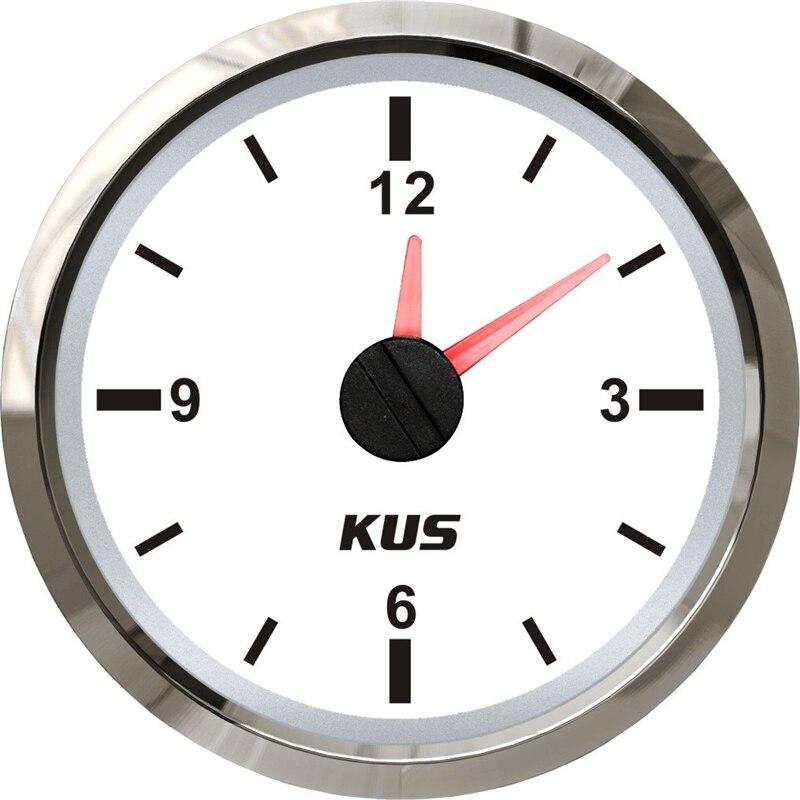 De medidores de hora de 52mm, indicadores de reloj automático, medidores de tiempo de 12V/24V para casas de Motor de barcos y automóviles, Color blanco Universal 1 unidad
