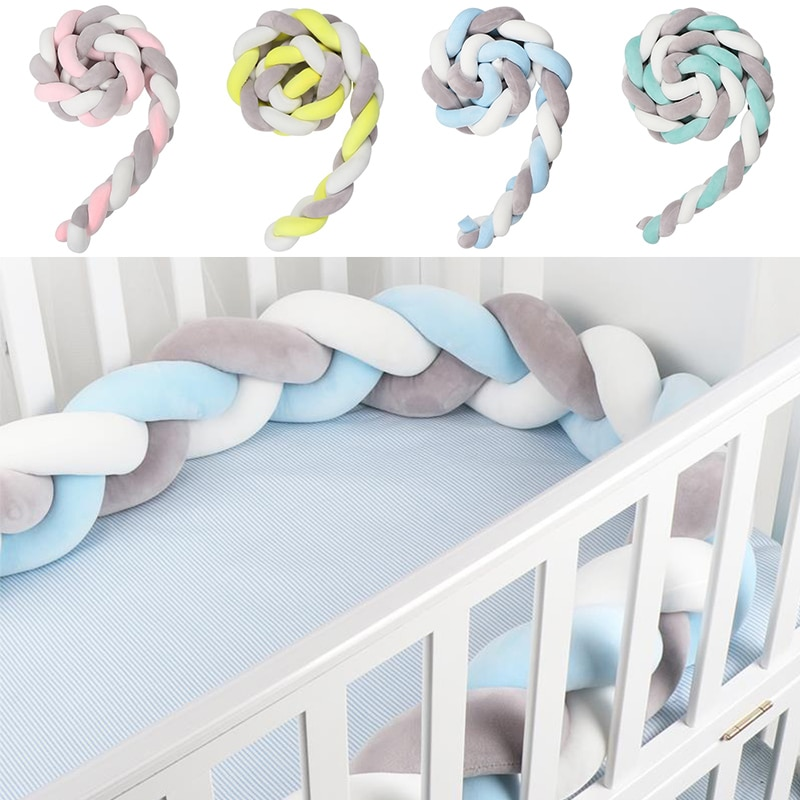1M/2M Handmade Newborn Baby Bed Bumper Pure Weaving Plush Knot Crib Bumper Kids Bed Baby Cot Protector Toddler Infant Room Decor