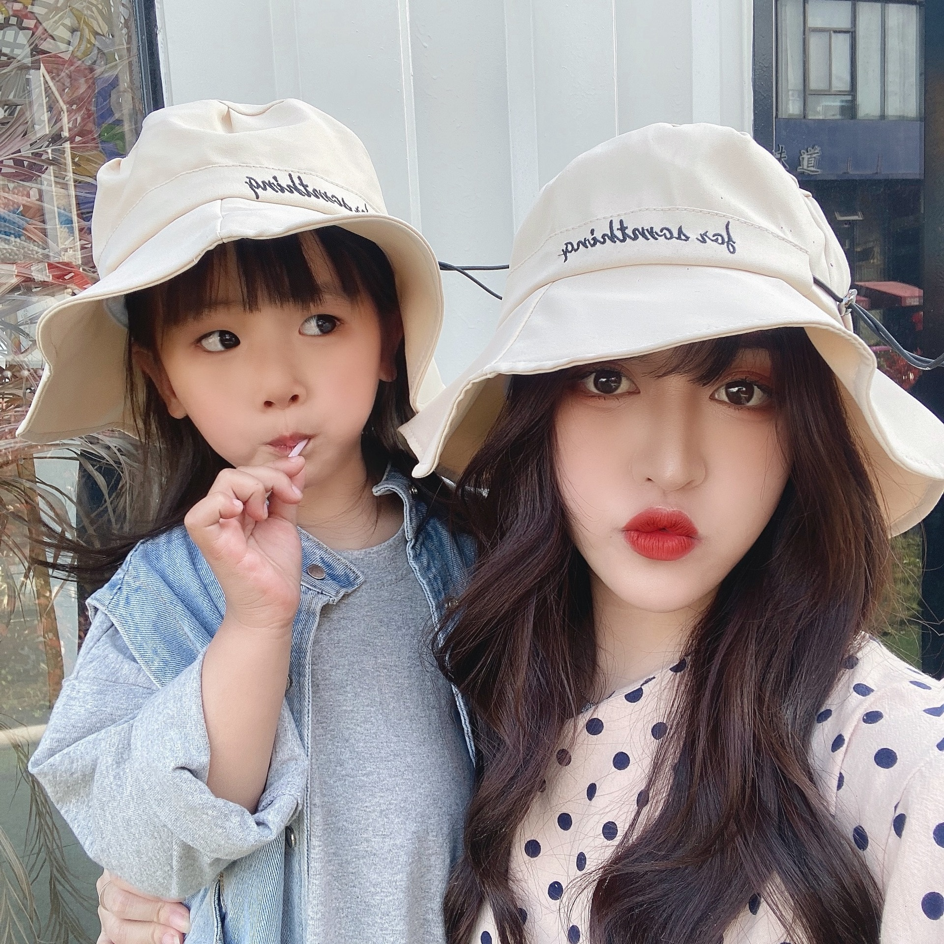 Parent-child Fisherman Hat Female Spring And Summer Sun Protection UV Bucket Hat Wild Face-lift Drawstring Sun Hat Gorros