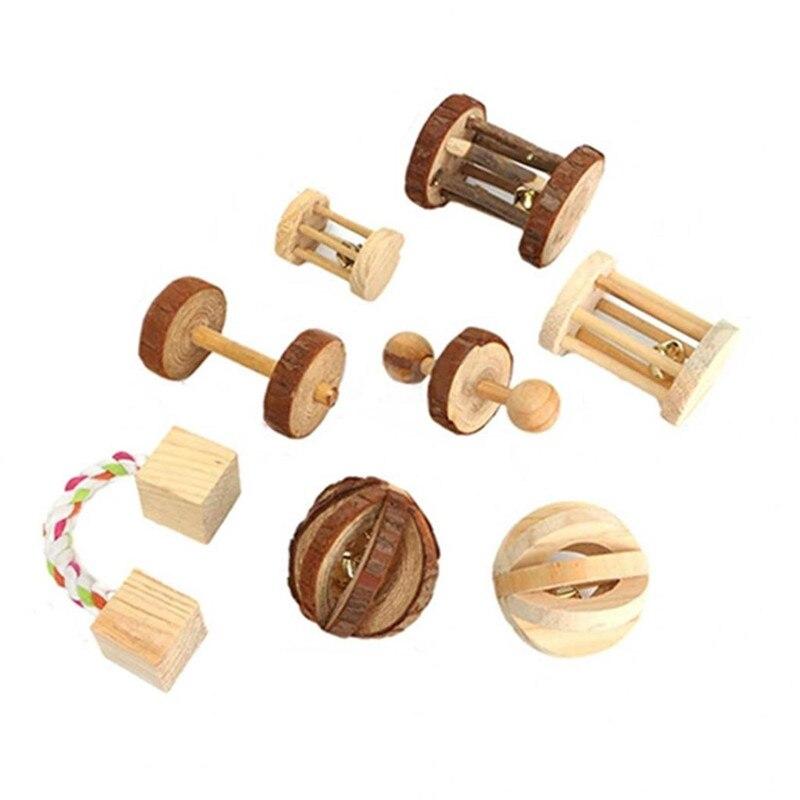 Slatke prirodne drvene igračke borove bučice valjak za zvonce za - Kućni ljubimci - Foto 3