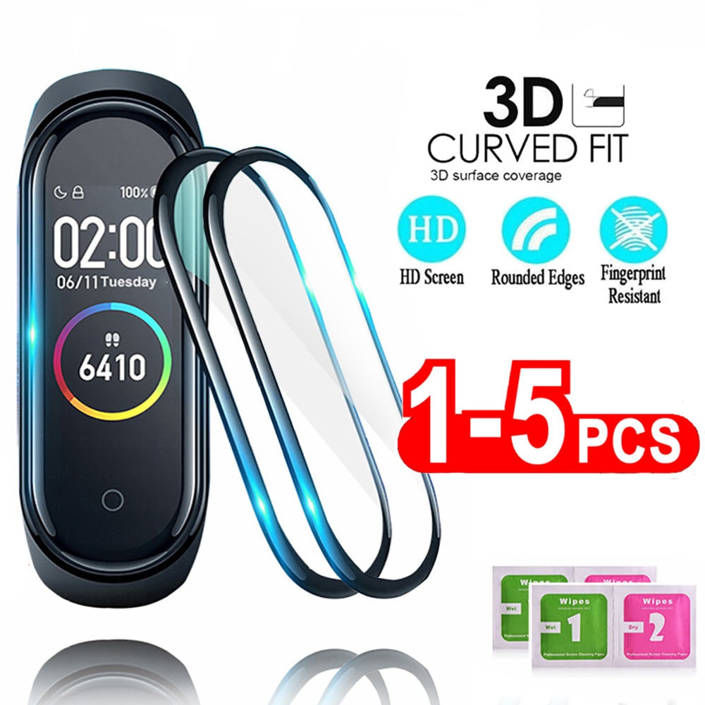 3D Protective Glass for Xiaomi mi band 4 5 glass film for Mi band5 Smart Watchband 4 5 Soft Screen Protector Film For mi band 4