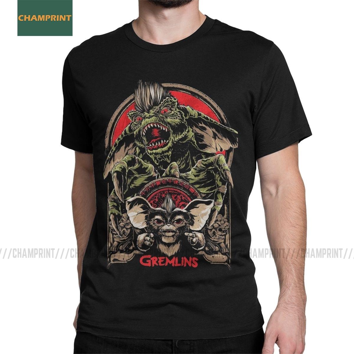 Camisetas para hombres Gremlins Gizmo 80s Movie momwai Monster Horror Retro Sci Fi camisetas creativas de manga corta de algodón 6XL