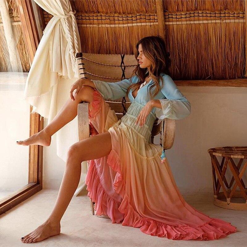 Vestido bohemio para mujer, Vestido de playa de otoño 2019, con volantes, mangas largas de linterna, escote en V profundo, botones, corte Irregular, Vestido de fiesta