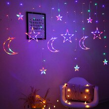 Sterne Mond Led Vorhang String Licht Weihnachten Ramadan Girlande Licht Romantischen Urlaub Lichter Für Hochzeit Party Decor
