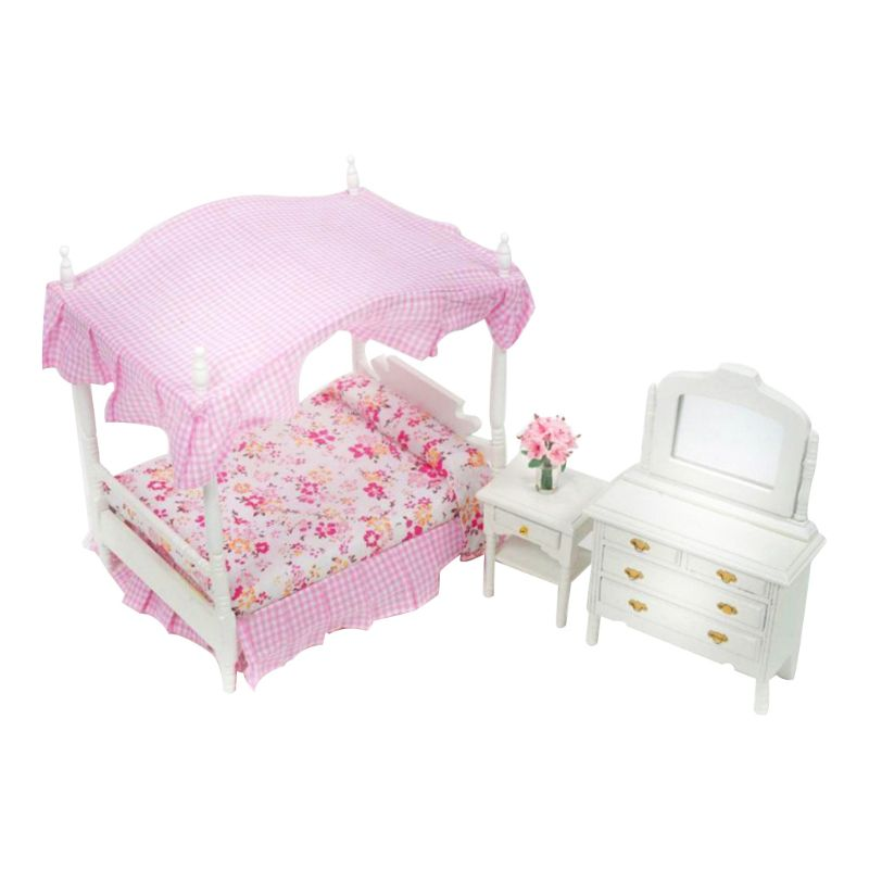 112, casa de muñecas, muebles de dormitorio en miniatura, baldaquín de princesa, cama cómoda, cabecera 19QF