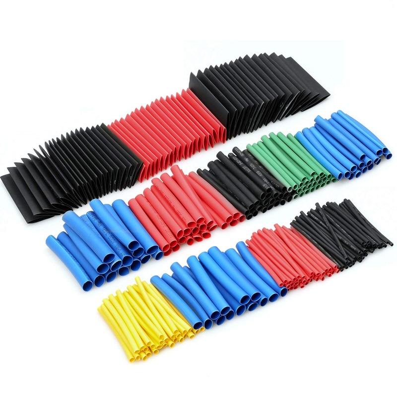 Термоусадочные трубки 164 шт./компл., изоляционные трубки, термопластиковые полиолефиновые термоусадочные трубки для кабеля, комплект термо...