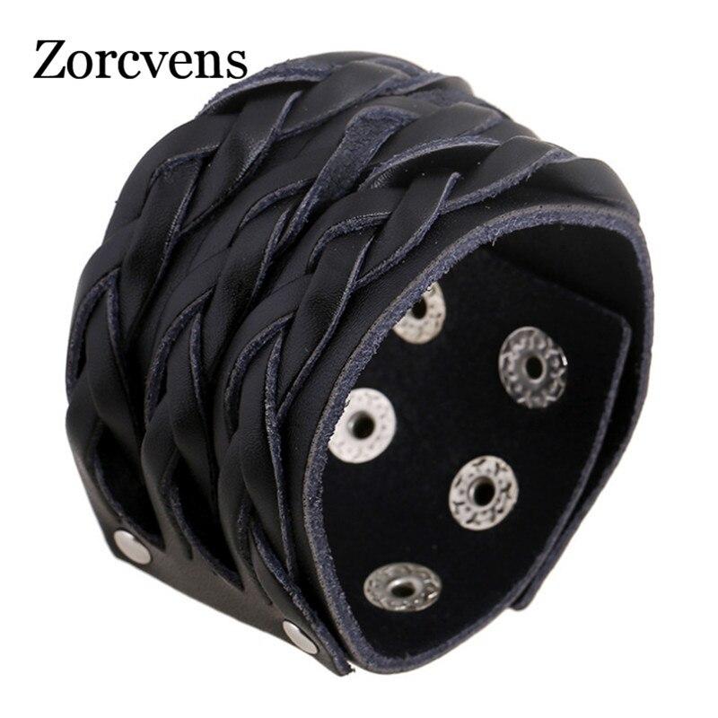 ZORCVENS 2020 Vintage Genuine Leather Bracelets Brand Punk Wide Cuff Charm Bracelets & Bangle for Men Jewelry Wristband
