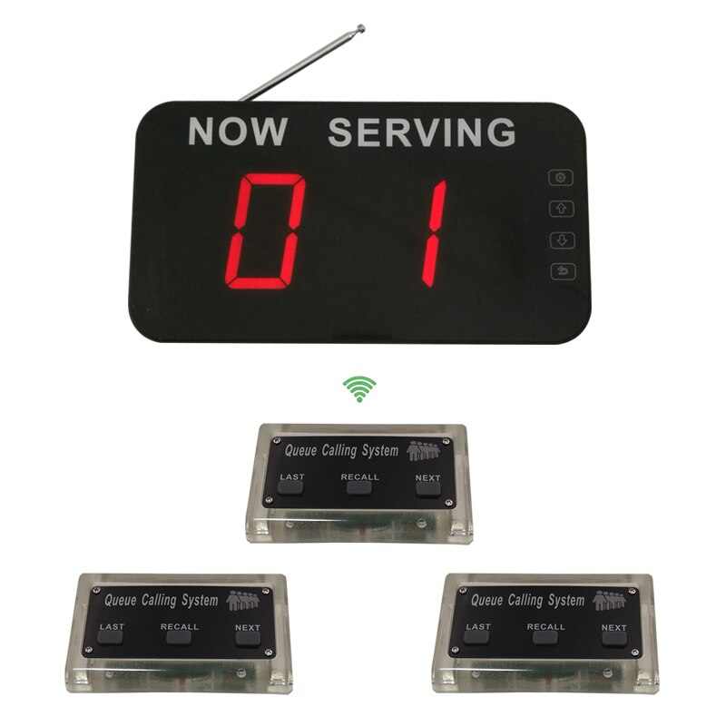 2019 Top Popular Wireless Queue Number Call System Used In Bank Clinic Restaurant with 1 Screen 3 buttons