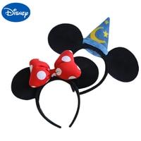 Original Disney Plush Headdress Toy Mickey Minnie Mouse Headwear Princess Mickey Minnie Ears Girls Hair Bands Head Hoop Kid Gift