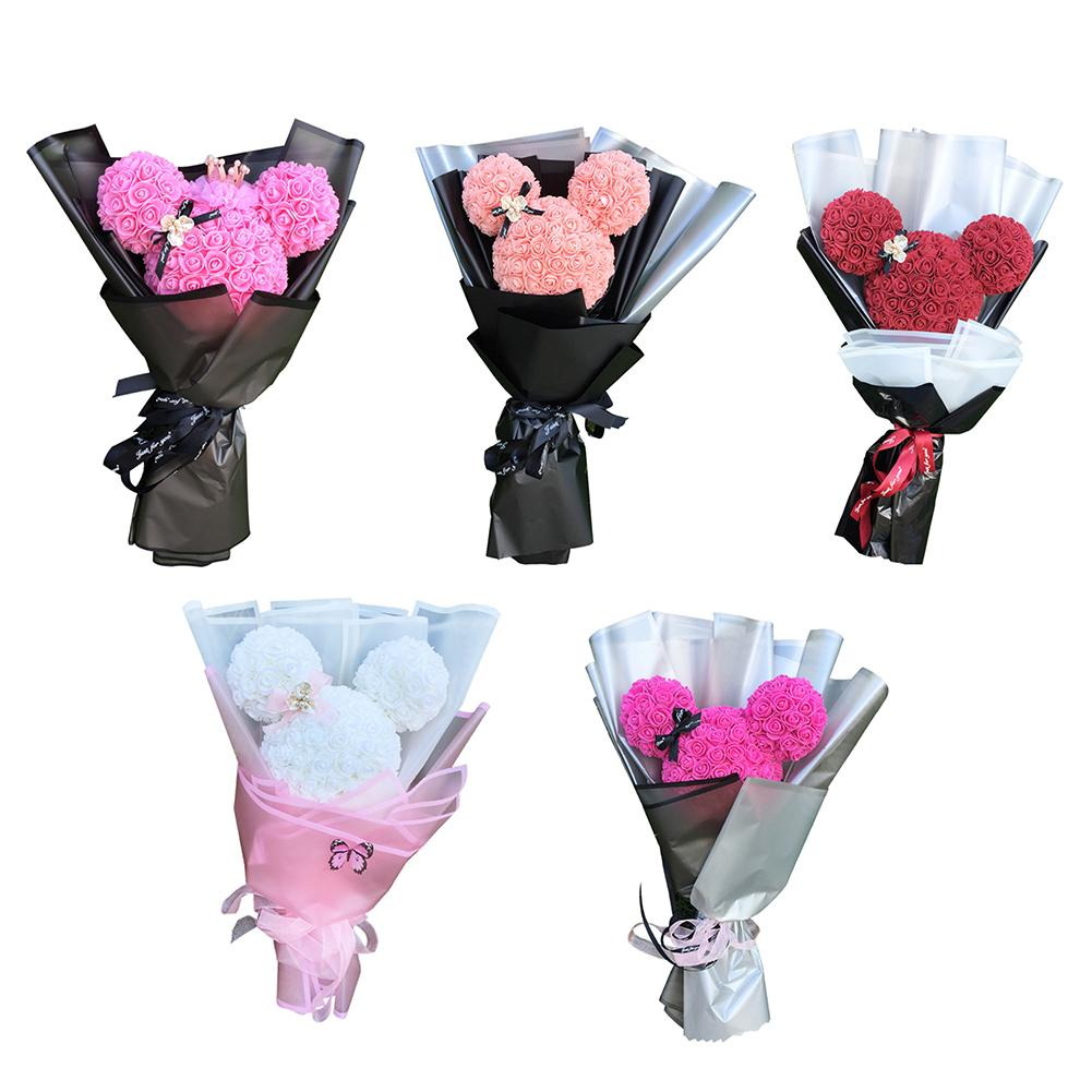 Rose Mickey Bouquet Artificial PE Handmade Eternal Rose Flower Bear Dolls Wedding Party Decoration Valentine's Day Gift