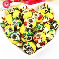 10 pcs assorted color resin murano flower big hole european beads fit pandora bracelet bangle charm for women diy jewelry making