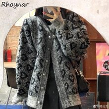 Cardigan Women Gray Sweet College Loose Heart-print Autumn Korean Style New Vintage BF Sweater All-m