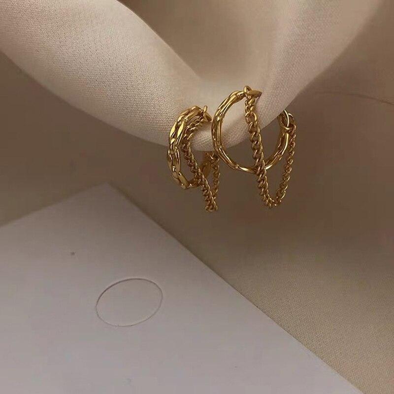 Pas de Piercing plaqué or creux cristal étoile chaîne Double couche chaîne or oreille manchettes pour fille mode femmes pince sur boucles doreilles