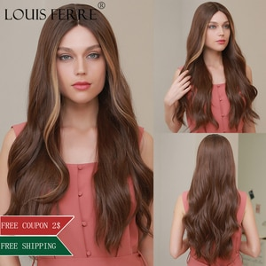 LOUIS FERRE Honey Brown Lace Part Wig Long Body Wave Synthetic Lace Wigs Cosplay/Daily Natural Hairline Middle Part Fake Hair