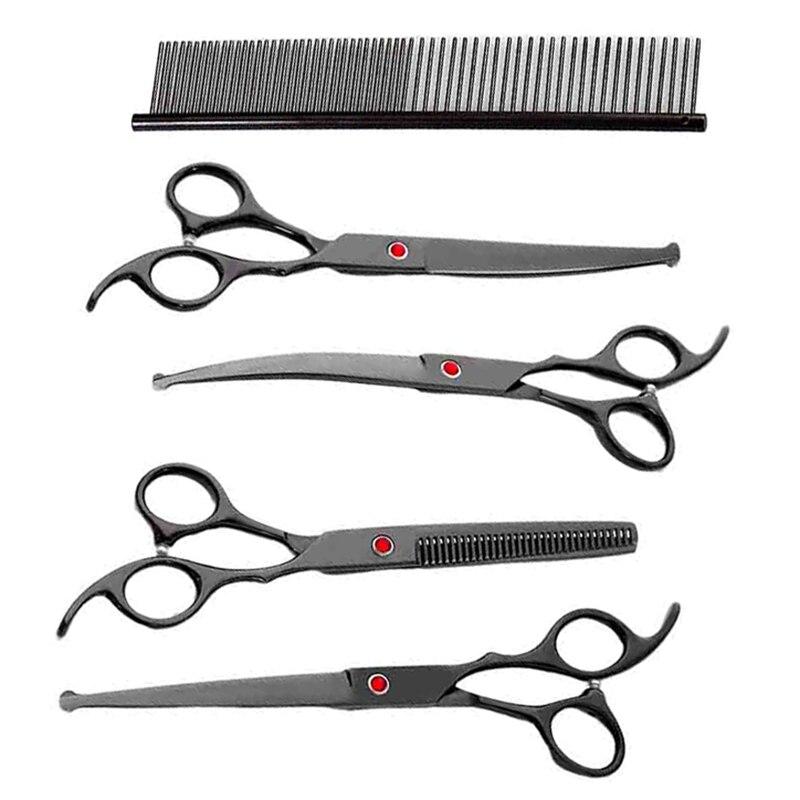 7 بوصة سوداء مستديرة تلميح اليابانية الفولاذ المقاوم للصدأ تصفيف الشعر قطع الشعر ترقق منحني المقصات الحلاق حلاقة مجموعة