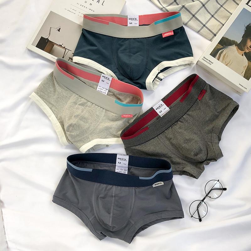 3 Pieces Mens Boxer Shorts Solid Color Cotton Mens Underwear Boxer Summer Mid Waist Underpants Breathable Men's Panties 2020 New
