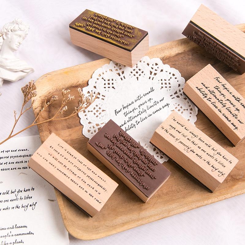 Padrão selo criativo alfabeto palavras frase de borracha de madeira selos diy para scrapbooking jornal suprimentos