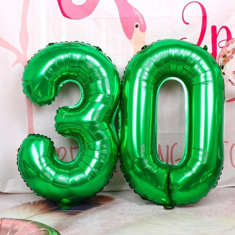Globos de hoja de número verde de 32 pulgadas, Globos de aire de números, suministros para fiestas de cumpleaños, Baby Shower, aniversarios, bodas, 1 unidad