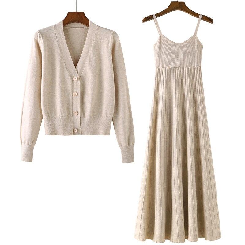 الخريف الشتاء جديد 2020 المرأة 2 قطعة اللباس مجموعات محبوك زر ضئيلة قصيرة البلوزات بالأزرار وطويلة الصلبة أنيقة فساتين