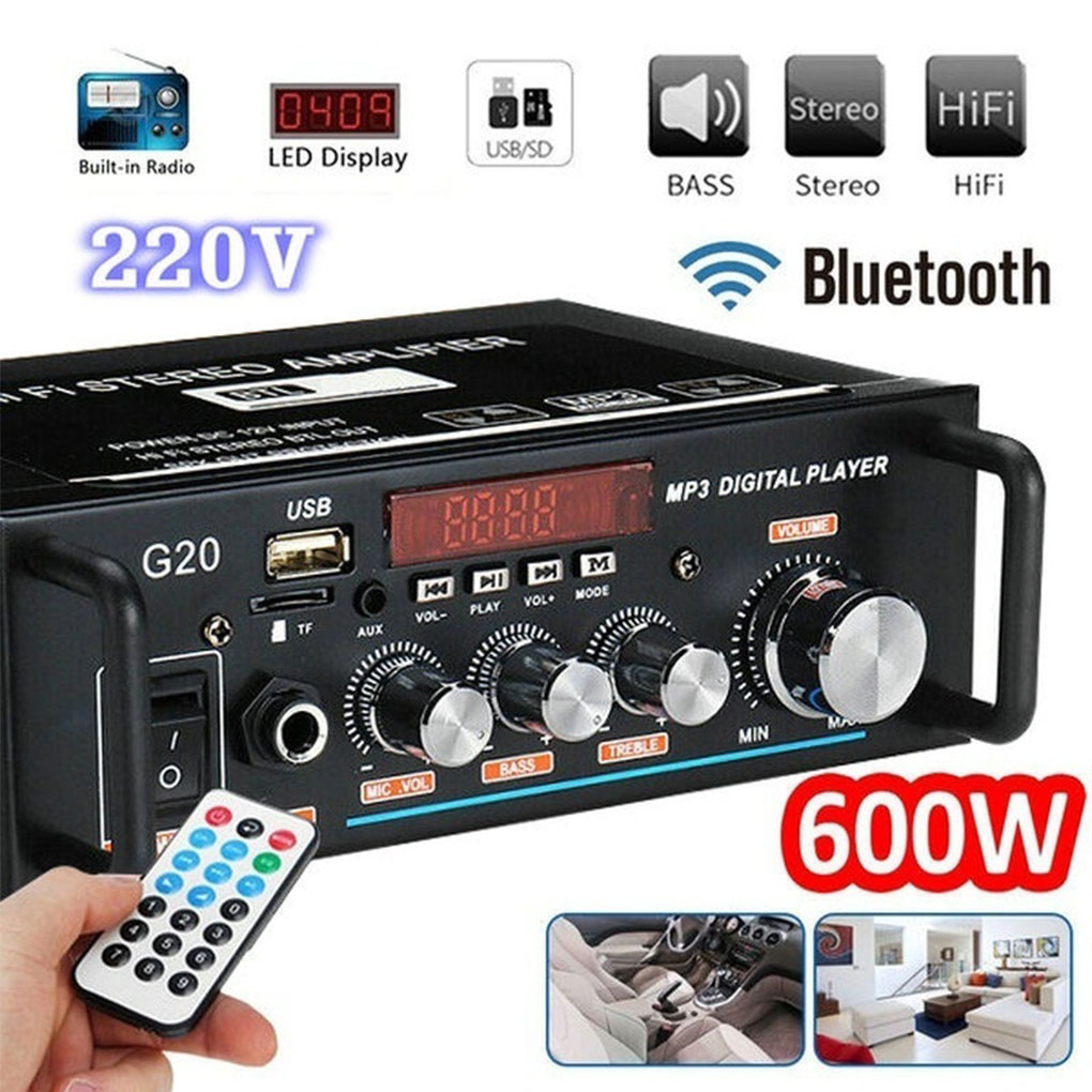 مضخم صوت منزلي 600 واط ، 200 فولت ، HiFi ، مضخم صوت للسيارة ، FM ، TF ، AUX ، مشغل MP3 ، مع جهاز تحكم عن بعد