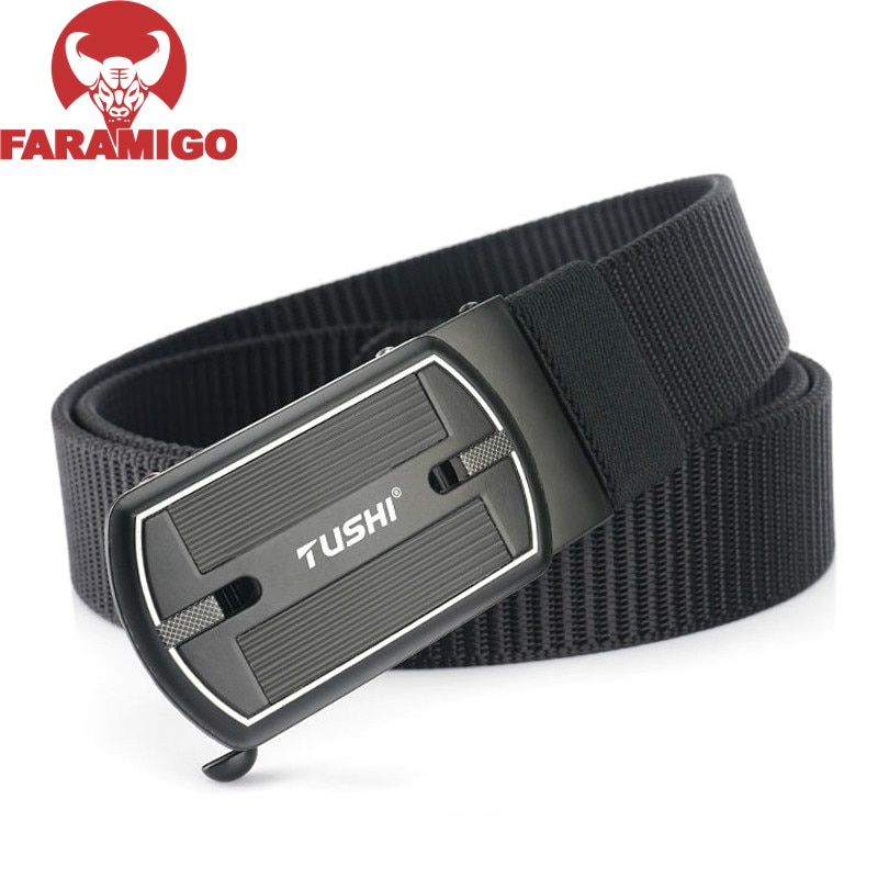 FARAMIGO  Product Fashion Nylon Men Belt Alloy Automatic Buckle Casual Canvas Trousers Belt Tank Pattern New Designer Belts becoming a product designer