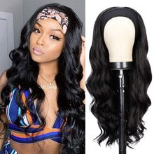 Isaic Synthetic Long Wavy Headband Wig Black Headband Wigs For Women Natural Hair for Daily Party Wear Easy to Wear