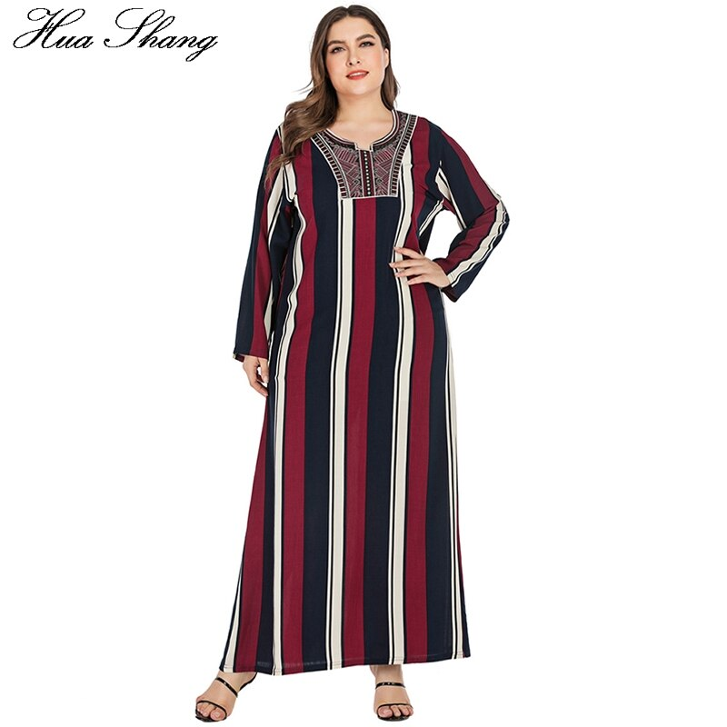 Vestido musulmán a rayas talla grande mujer verano manga larga suelta Maxi vestido largo túnica Kaftan Abaya Dubai vestidos