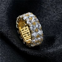 hip hop rock s925 sterling silver 2 rows cz stone bling iced out round finger rings for men women rapper jewelry 925 ring