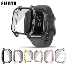 FIFATA Protection Case For Garmin Venu SQ Smart Watch Plating TPU Soft Cover Full Screen Protector S