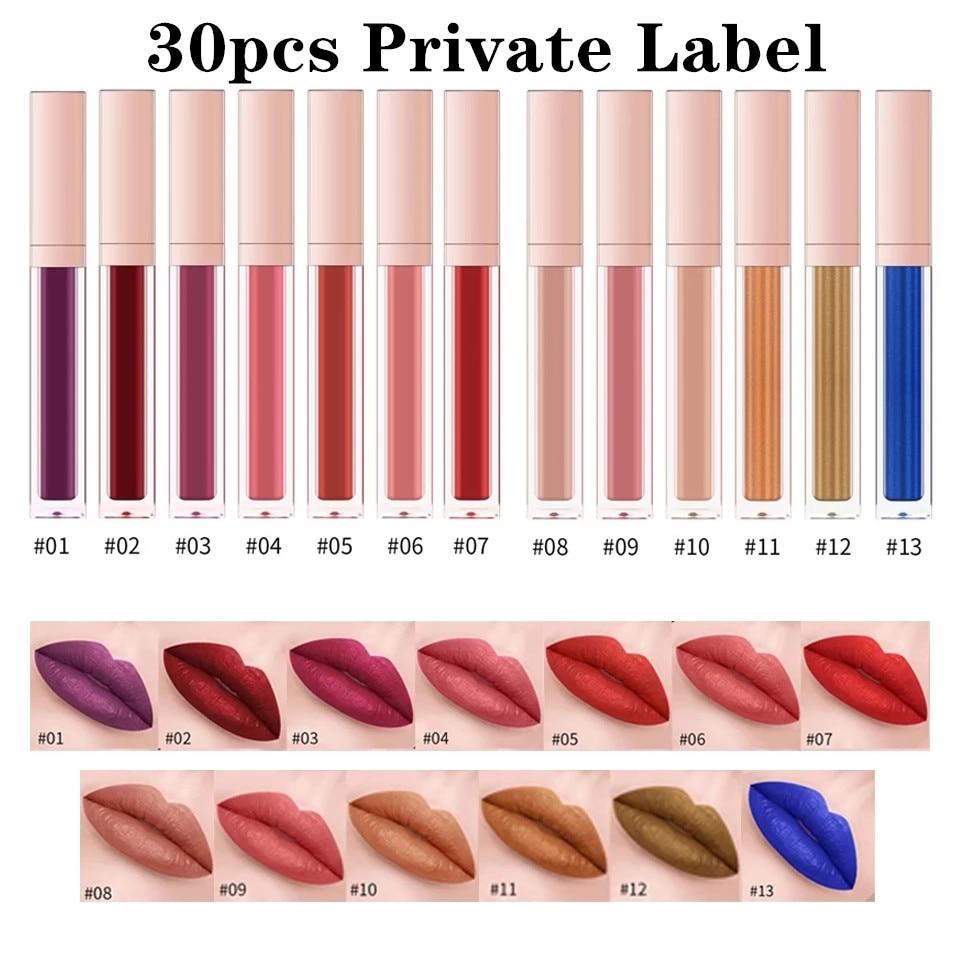 19 Colors Lip Gloss wholesale Custom Logo Waterproof Matte Liquid Lipstick Long Lasting Lipgloss Private Label packaging