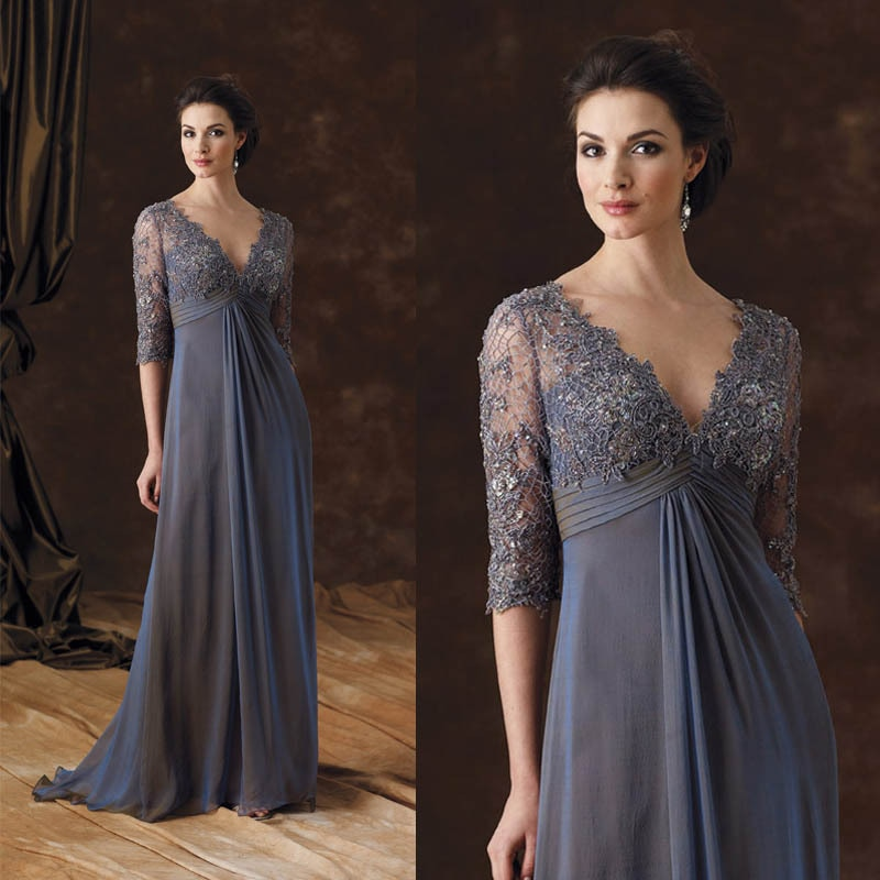 MB002 2015 Elegant lace appliqued half sleeves grey chiffon mother of the bride dresses