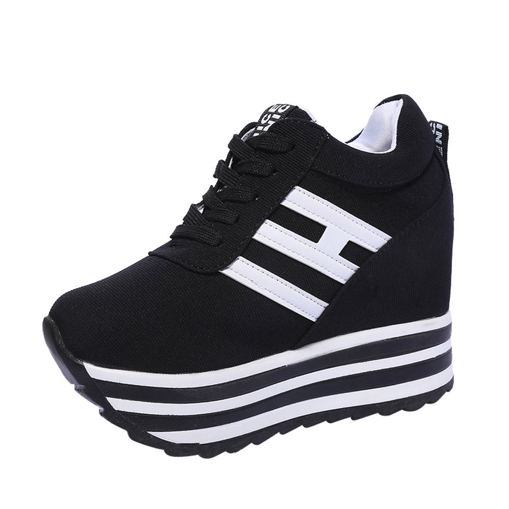 Zapatillas de deporte a la moda para mujer, zapatillas con cuña y cordones transpirables con aumento de altura, zapatos de plataforma, zapatos informales de lona para mujer Nov 6