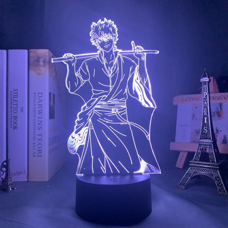 gin tama Gin Tama Gintoki Sakata Led Night Light for Bedroom Decor Colorful Nightlight Anime Gift Gin Tama 3d Lamp Gintoki Sakata