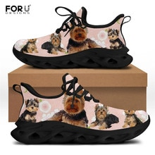 FORUDESIGNS Lightweight Women Sneakers Kawaii Yorkshire Pattern Ladies Casual Wlaking Shoes Female L