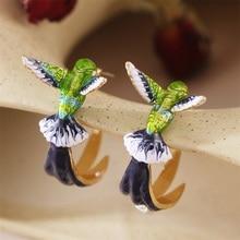 CAOSHI Personality Enamel Bird Stud Earrings for Women Exquisite Design Animal Ear Stud Handmade Acc