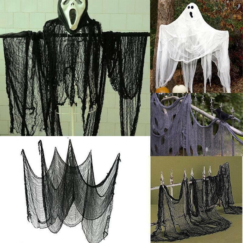 1 жуткое нарядное платье на Хэллоуин из ткани для окна, стола, двери, сетки, вечерние платья, украшение на Хэллоуин, большая сетка, декоративн...