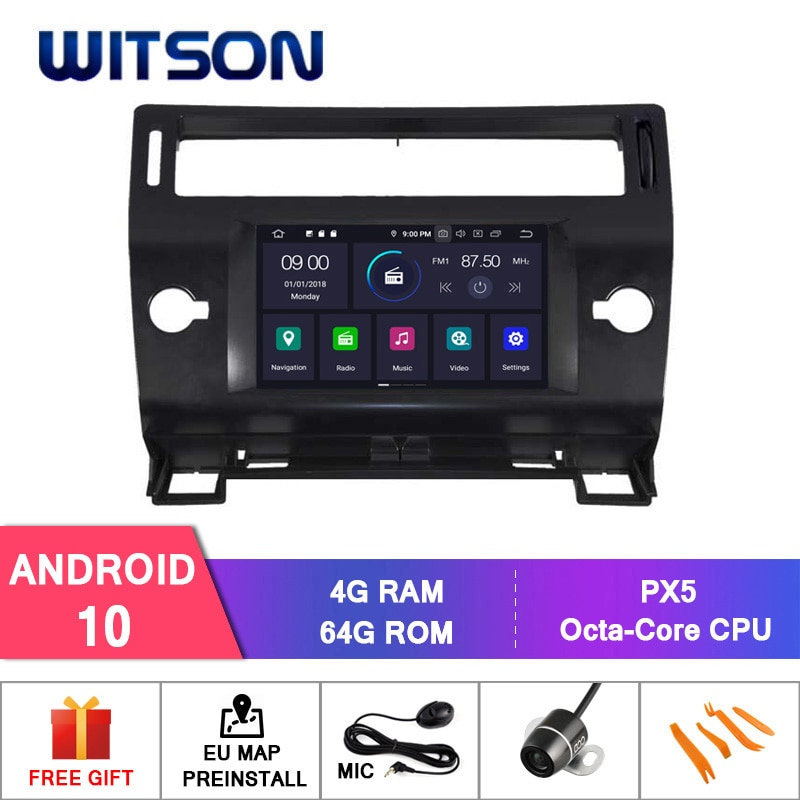 WITSON Android 10 4 + 64G AUTO DVD PLAYER GPS Für CITROEN C4 4 schwarz und silber farbe 2004-2012 gps navigation auto radio audio