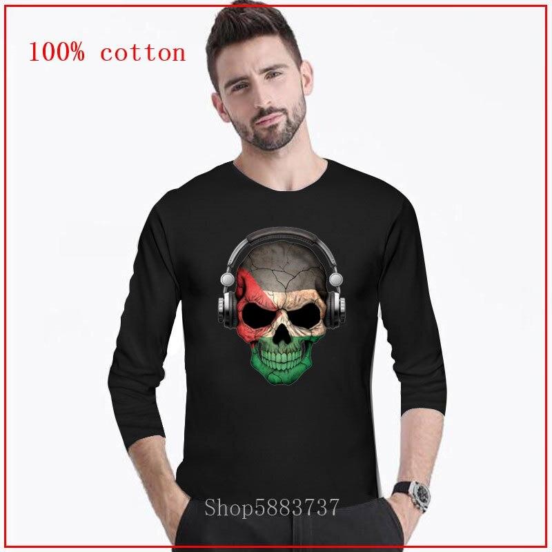 Dark Sugar Skull Tops Tees men Deejay with Palestinian Flag Guitar T-shirts Long Tshirt Horrible Vogue Clothing for male